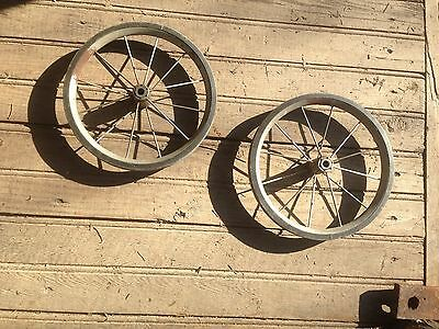 ANTIQUE  SPOOKED PAIR BABY BUGGY WHEELS 9in diameter