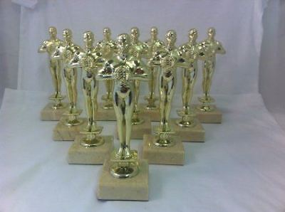"10 x Gold coloured achievement,Oscars, Trophy,Award 178mm (7""),FREE engraving..."
