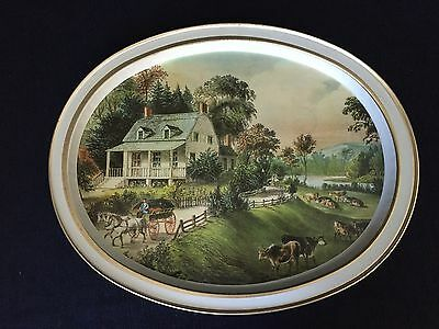 Vintage Currier & Ives Oval Serving Tray The American Homestead