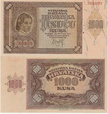 Croatia 1000 Kuna Banknote,26.5.1941 Uncirculated Condition Cat#2-A