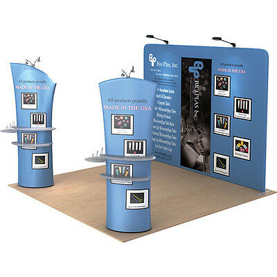 10ft Portable Custom Fabric Trade Show Display Pop Up Stand Backdrop Wall Booth