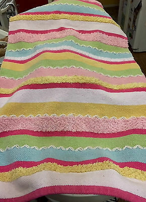 """Rug For Nursery / Baby Room Colorful Stripes 50"""" X 28"""" Cotton"""