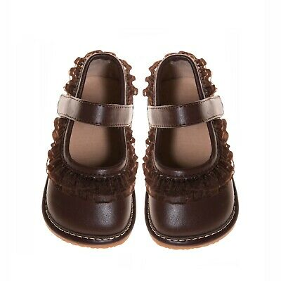 Girl's Brown Girl Ruffle  Leather Squeaky Shoes Sizes 1 to 7 w/Free Stoppers