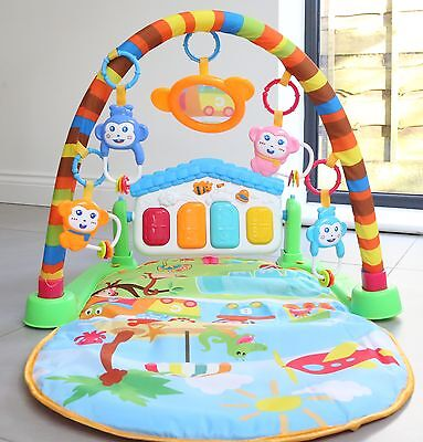 Baby Gym Play Mat Lay & Play 3 in 1 Fitness Music And Lights Fun Piano Green a