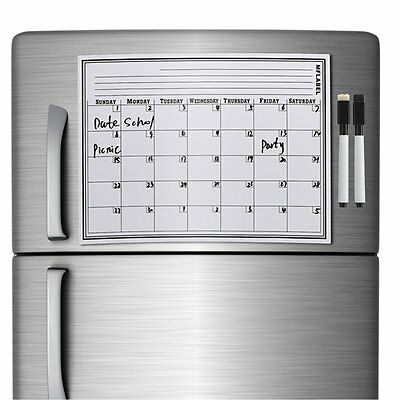 17 x 12 Calendar Dry Erase Magnetic Refrigerator Flexible Message Board + Marker