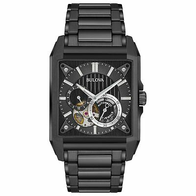 New Bulova Men's Stainless Steel Black IP Automatic Skeleton Watch - 98A180