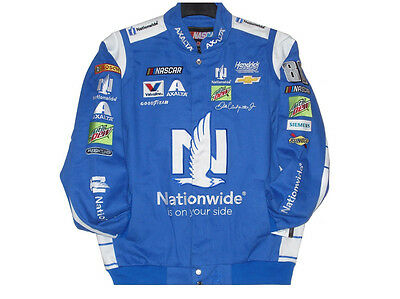 2017 Nascar Dale Earnhardt JR NationWide Cotton Jacket JH Design Royal L
