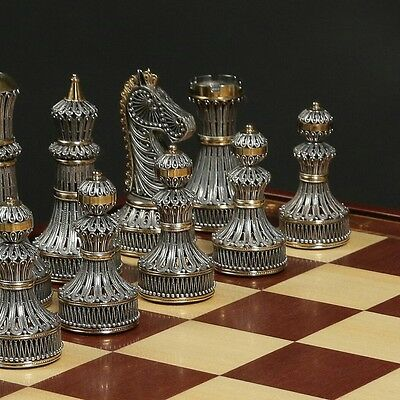 Brand New Limited Edition Sterling Silver Gold Guild Chess Set Filigree VIDEO
