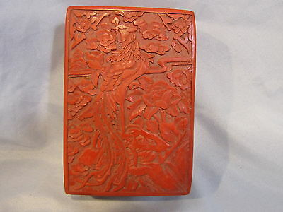 Cinnabar Trinket Jewelry Box w/ Lid -Vintage Oriental Chinese Carved Darker Red