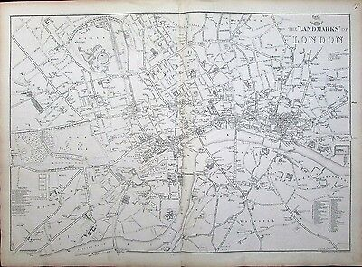 London England landmarks Palace Tower monuments c1860 folio Weller city plan map