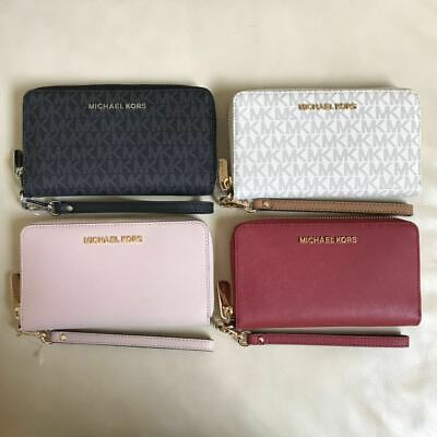 NEW Michael Kors Jet Set Zip Around Phone Case Wallet Wristlet Various Colors