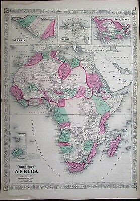 Africa continent Liberia Nile Cape Colony c.1864 antique large Johnson color map