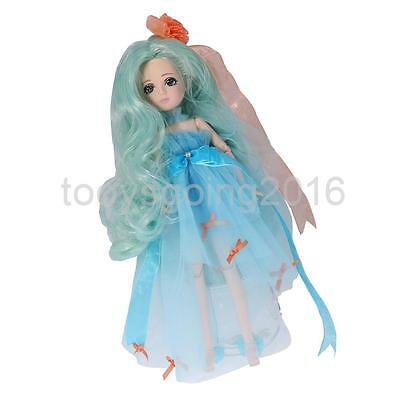 Flexible 30 Joints Make Up Vinyl Ball Jointed BJD Doll in Blue Kids Toy Gift