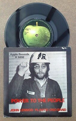 "John Lennon "" Power To The People ""super Uk Very Rare Picture Sleeved 45"