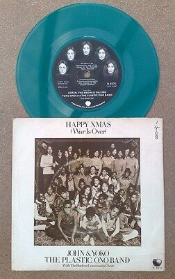 "John Lennon "" Happy Xmas War Is Over  ""super Uk Rare Green Vinyl 45 In Pic Slv"