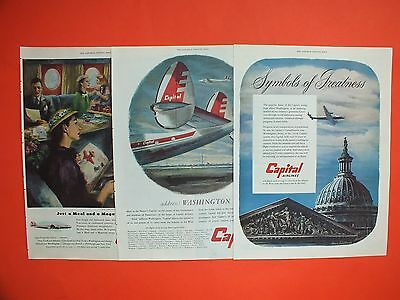 1950's CAPITAL Airlines Lot of 3 Vintage Magazine Ads