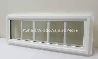 """10"""" x 30"""" Double Pane Transom Window PVC Insulated with Grids"""