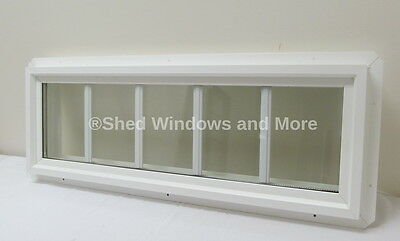 """10"""" x 36"""" Double Pane Transom Window PVC Insulated with Grids"""