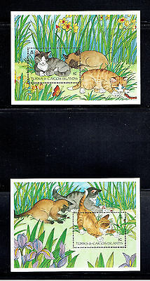 Turks & Cacos 1151-1152, 1995 Cats, S/s,  Mnh (Id4299)