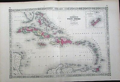 Caribbean West Indies Bermuda St. Domingo Jamaica Haiti c.1865 large antique map