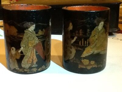 Vintage Pair Japanese Painted Black Lacquer Meiji  Papier Mache Box canister