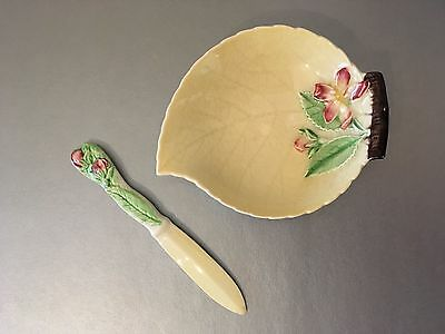 Vintage Carlton Ware 1940s Butter Dish & Knife Spreader - Yellow Apple Blossom
