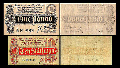 2x 10 Shillings + 1 Pound - Issue ND 1914 George V - 2 Banknotes - 26