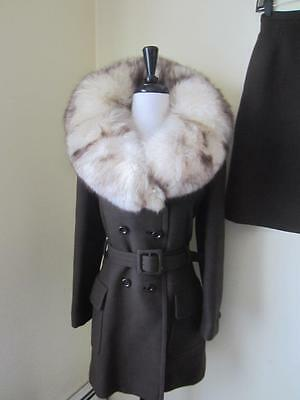 Vintage Skirt Suit HUGE Fox Fur Collar Brown Wool Spy Jacket Set 1960's Mod S M