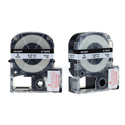 2PK LC-4WBN9 Compatible for Epson/K-Sun Label Tape Black on White 12mm 1/2'' 26'