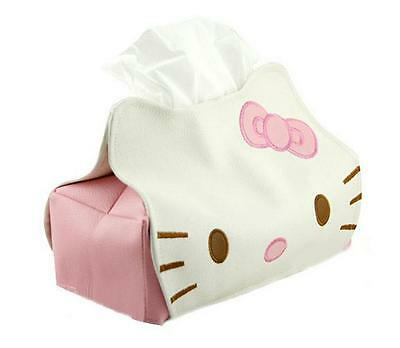 2017 New Hello Kitty Leather Tissue Napkin Paper Box Case Holder Gift