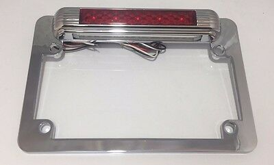 Motorcycle Red LED Chrome License Plate Frame w/ Third Brake Light Function