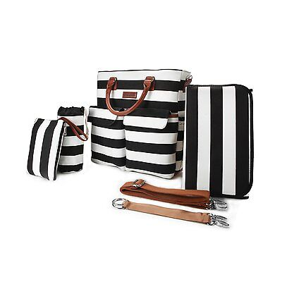 5 in 1 Baby Diaper Bag Black and White Stripe Cotton Canvas with Changing Pad,