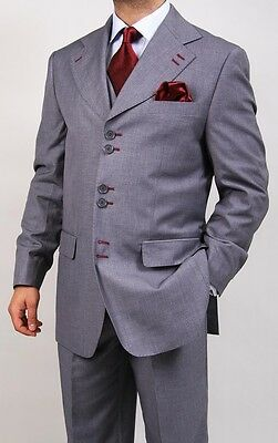 New Men's Formal Regular Fit 3-Piece Suit six button solid color Jacket, Gray