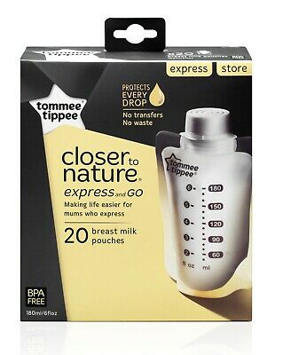 Tommee Tippee Closer To Nature Express & Go Breast Milk Storage Bags x 20 Bags