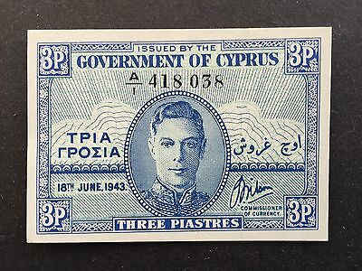 Cyprus 3 Piastres P28a King George VI Dated 18th June 1943 Uncirculated UNC