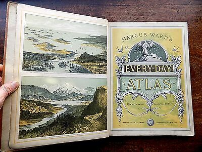 c1880 Marcus Ward Every-Day Atlas 30 Colour Maps Antique Old Victorian USA Asia