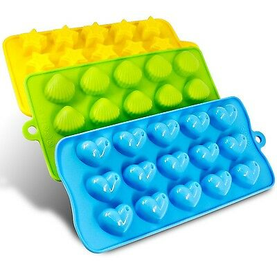 Silicone Molds- SENHAI 3 Pack Candy Chocolate Molds Ice Cube Trays - Hearts S...