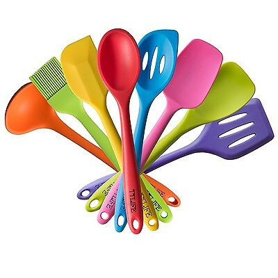 TTLIFE Silicone Spatula Utensil Kitchen 8 Pieces With Turner Slotted spoon La...