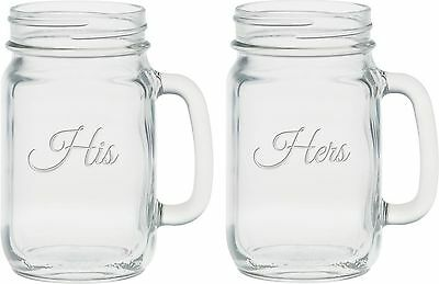 Culver 2-Piece Etched His and Hers Handle Jar Set 16-Ounce