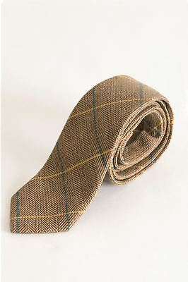 Mens Marc Darcy Designer Oak Beige Tweed Tie