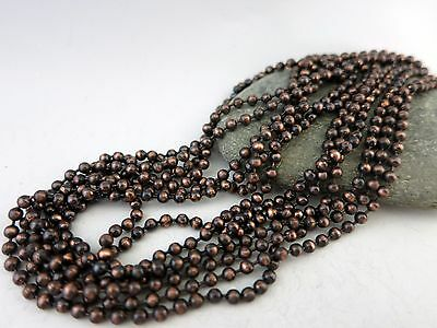 Antique Copper Ball Chain w/Connectors, 2.4mm, Hand Oxidized Copper, Made in USA