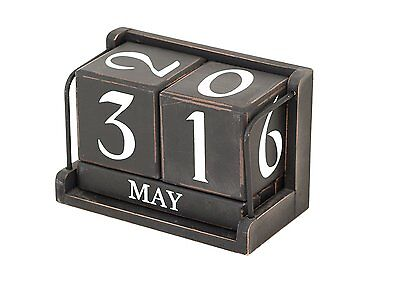 Large Perpetual Calendar Black Wooden Blocks Shabby Home Office Desk Accessory