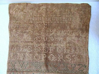 Early Antique Whitework Band Sampler 1803 Country Primitive Embroidery Folk Art