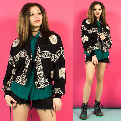 Womens Vintage 90's Grunge Aztec Black Double Breasted Tracksuit Top Jacket 10
