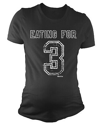 Ladies MATERNITY T-Shirt Eating For 3 Twins Funny Womens PREGNANCY Baby Gift