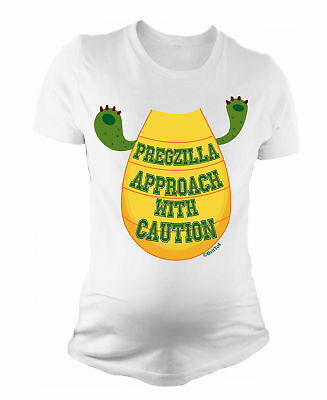 Ladies MATERNITY T-Shirt Pregzilla Approach With Caution Womens PREGNANCY Baby G