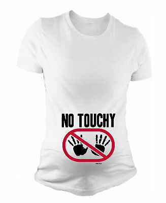 Ladies MATERNITY T-Shirt NO TOUCHY Funny Womens Pregnancy Baby Gift