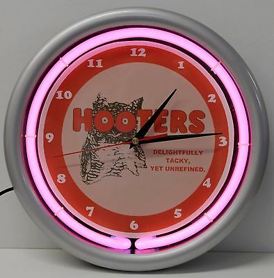 HOOTERS Neon Light Up Clock - 10 inches - bar - restaurant