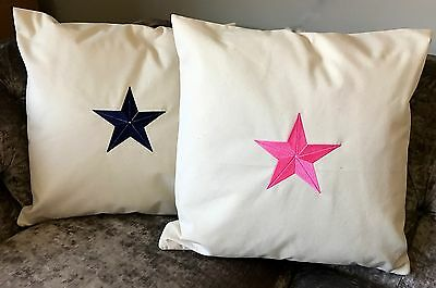 Embroidered Star 100% Cotton Canvas Cushion Cover Blue Pink Grey Kids Room
