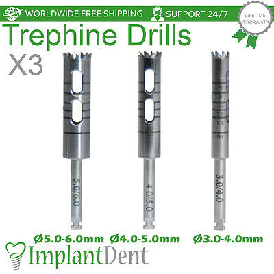 3 Trephine Burrs Drills Dental Implant Surgical Surgery Tools Stainless Steel